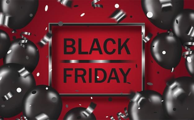 Diseño de póster viernes negro con globos negros, confeti, serpentina y marco sobre fondo rojo Vector Premium