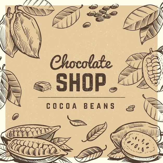 Diseño de póster vintage de tienda de chocolate con barra de chocolate bosquejada y granos de cacao Vector Premium