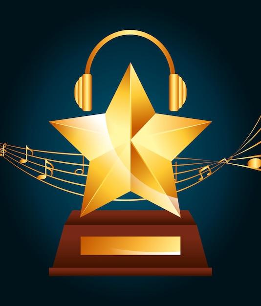 Diseño de premio musical vector gratuito