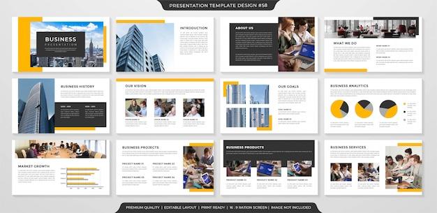 Diseño de presentación de negocios con estilo minimalista Vector Premium