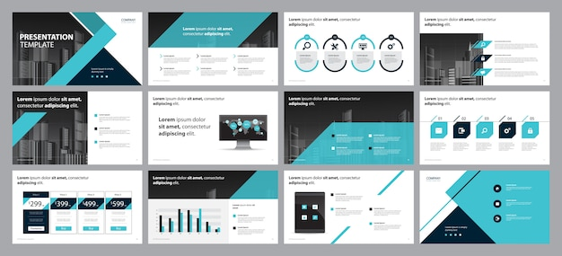 Diseño de presentación de negocios y maquetación de folletos. Vector Premium