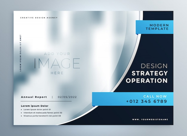 Diseño de presentación profesional de negocios azul folleto vector gratuito