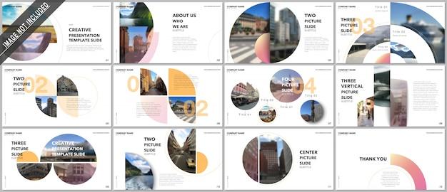 Diseño de presentaciones mínimas, plantillas de vectores de cartera con elementos de círculo. plantilla multipropósito para diapositiva de presentación Vector Premium