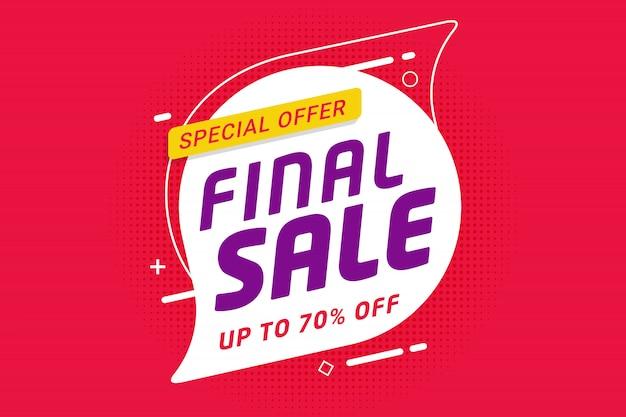 Diseño de promoción de plantilla de banner de descuento de venta final para negocios Vector Premium