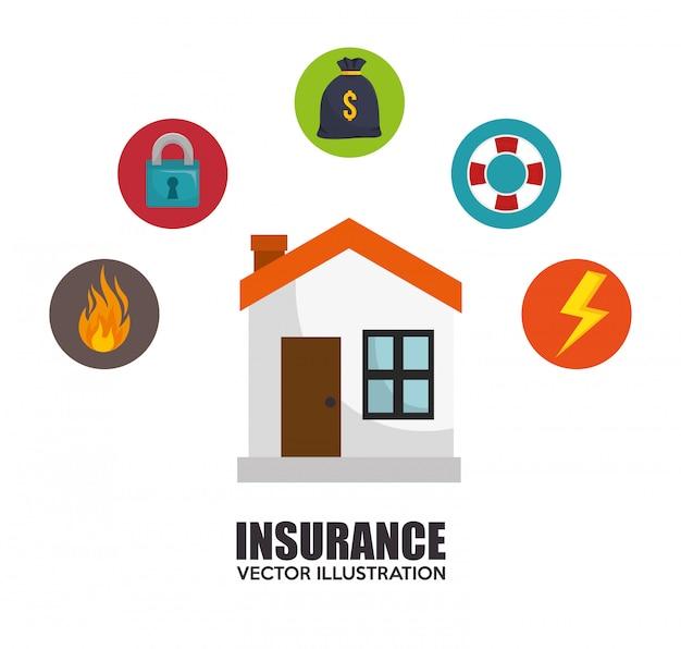 Diseño de protección de seguro de casa vector gratuito