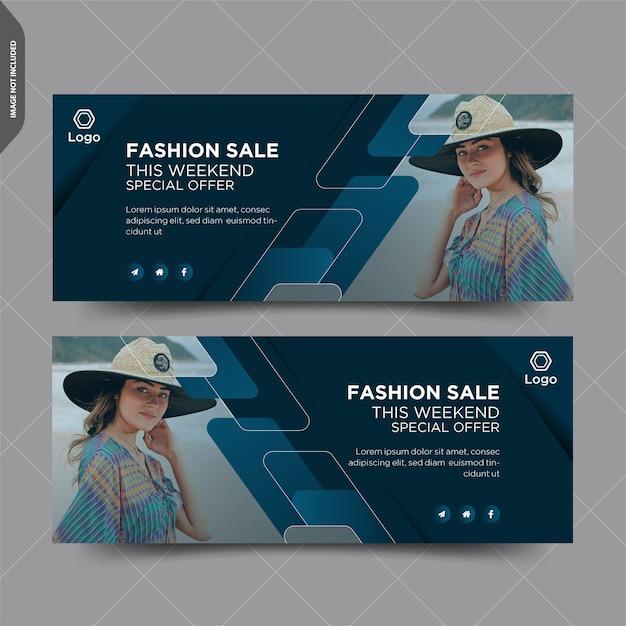 Diseño de publicación de portada de facebook de venta de moda Vector Premium