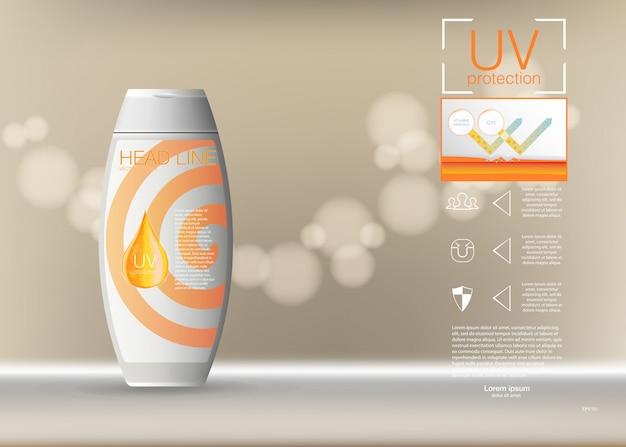 Diseño de publicidad de productos cosméticos. ilustración plantilla de anuncios de bloqueador solar, diseño de productos cosméticos de protección solar con crema o líquido, fondo. Vector Premium
