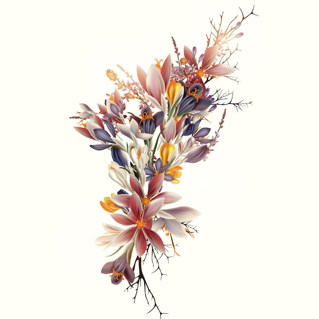 Diseño de ramo floral vector gratuito