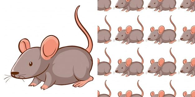 Diseño con rata gris de patrones sin fisuras vector gratuito