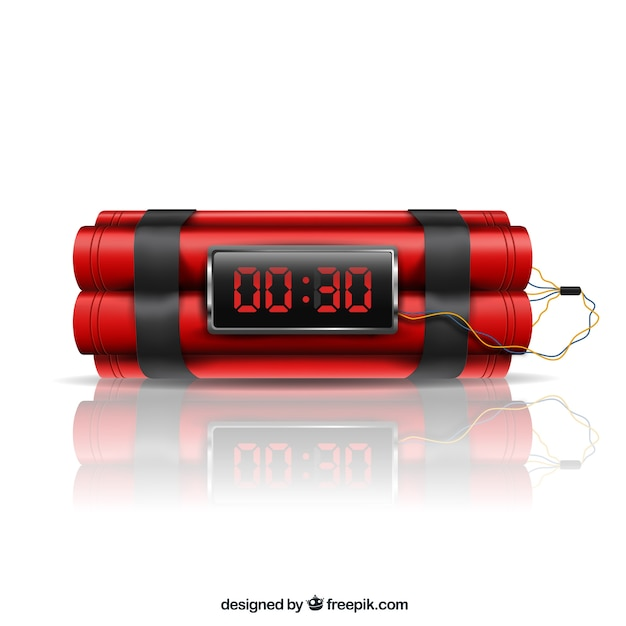 Diseño realista de bomba de tiempo rojo vector gratuito