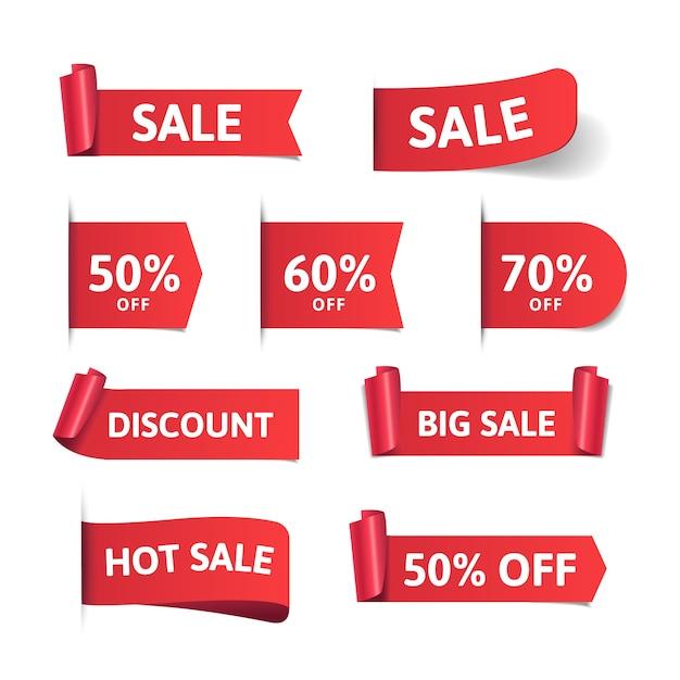 Diseño realista de la colección de etiquetas de ventas vector gratuito