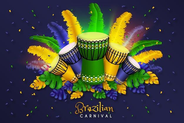 Diseño realista de fondo de carnaval brasileño vector gratuito