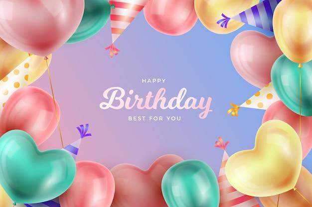 Diseño realista de fondo de cumpleaños vector gratuito