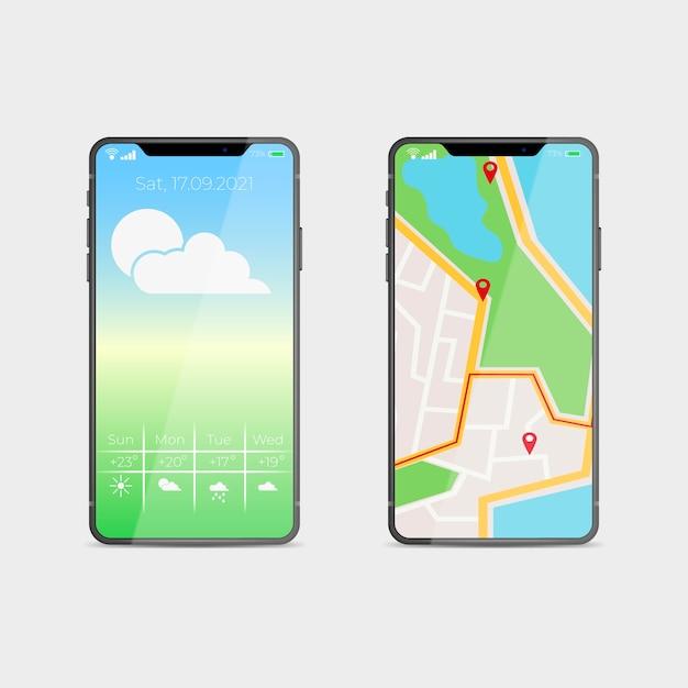 Diseño realista para el nuevo modelo de teléfono inteligente con aplicación de mapas. vector gratuito