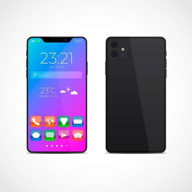 Diseño realista para smartphone modelo 11 con aplicaciones. vector gratuito