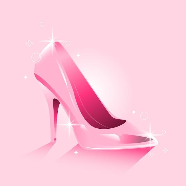 Diseño realista de zapato de cristal de cenicienta vector gratuito