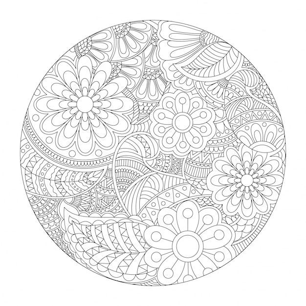 Diseño redondo hermoso de la mandala con el estampado de flores ...