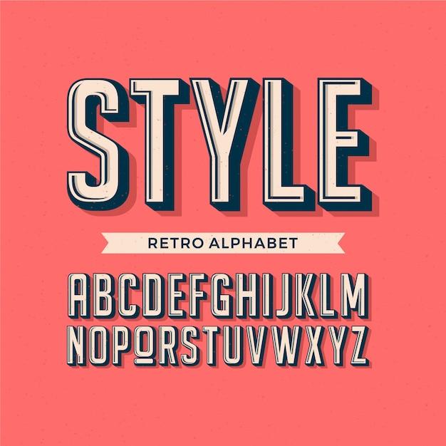 Diseño retro del alfabeto 3d Vector Premium