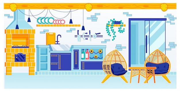 Diseño de sala de cocina con horno en casa de verano Vector Premium