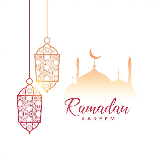 Diseño de saludo de ramadan kareem con lámparas colgantes y mezquita vector gratuito