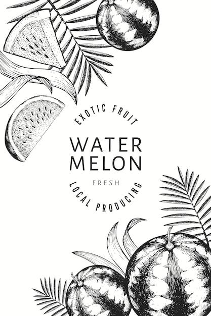 Diseño de sandías, melones y hojas tropicales. Vector Premium
