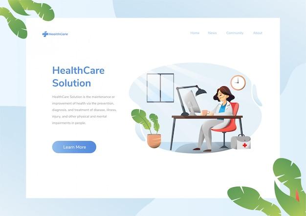 Diseño de sitio web con tema de salud Vector Premium