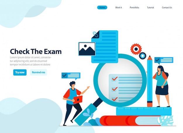Diseño del sitio web para verificar y evaluar los resultados de los exámenes de los estudiantes. Vector Premium