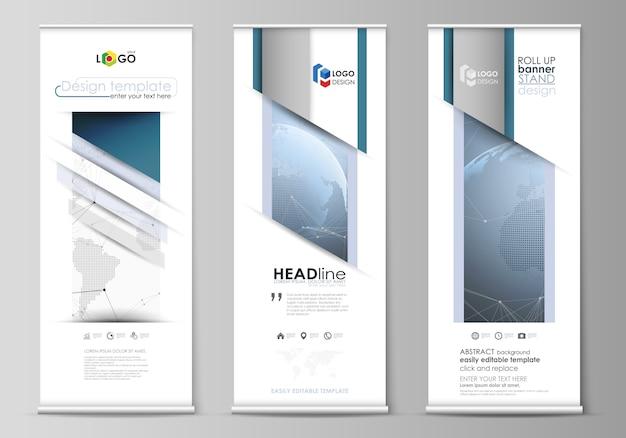 Diseño de soportes de banner enrollables, volantes verticales Vector Premium