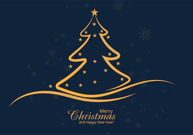 Diseño de tarjeta de árbol de línea de navidad artística vector gratuito