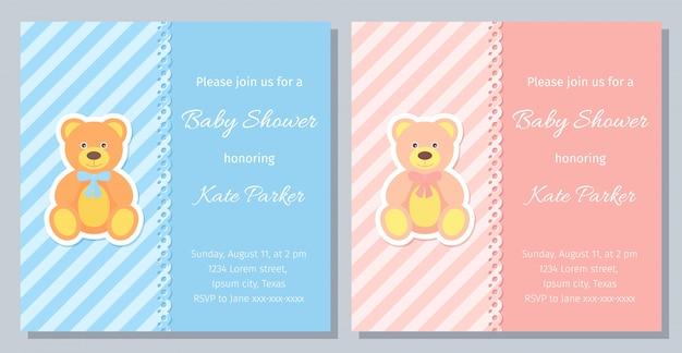Diseño de tarjeta de baby shower. ilustración. invitación de plantilla de cumpleaños. Vector Premium
