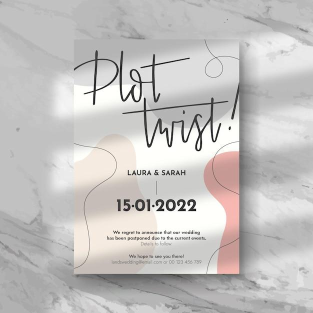 Diseño de tarjeta de boda pospuesta tipográfica vector gratuito