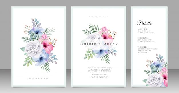 Diseño de tarjeta de boda ramo floral Vector Premium