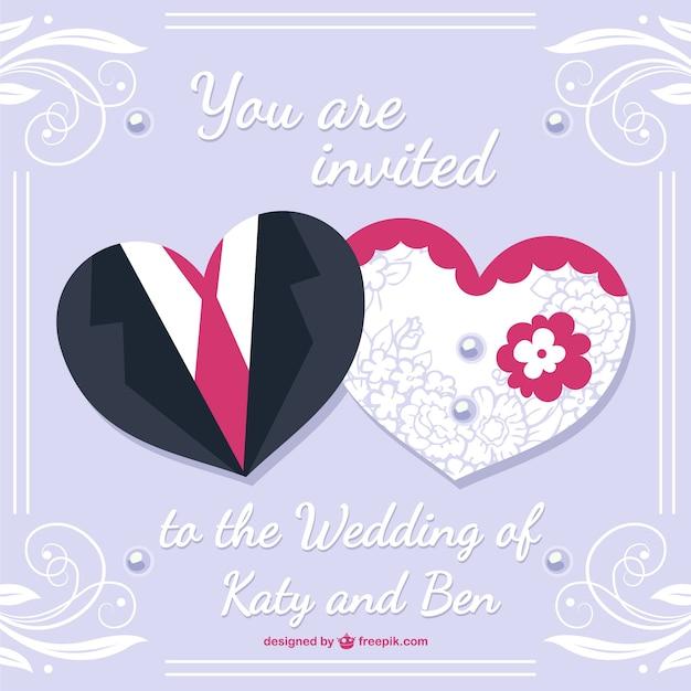 6f8bd7255fbc Diseño de tarjeta de boda con vestidos de novio y novia | Descargar ...