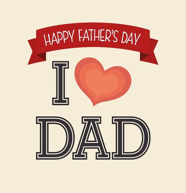 Diseño de tarjeta del día de padres feliz. Vector Premium