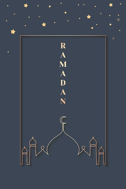Diseño de tarjeta enmarcada ramadán vector gratuito