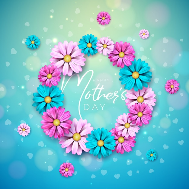 Diseño de tarjeta de felicitación del día de la madre feliz con flor y letra de tipografía sobre fondo azul. vector gratuito