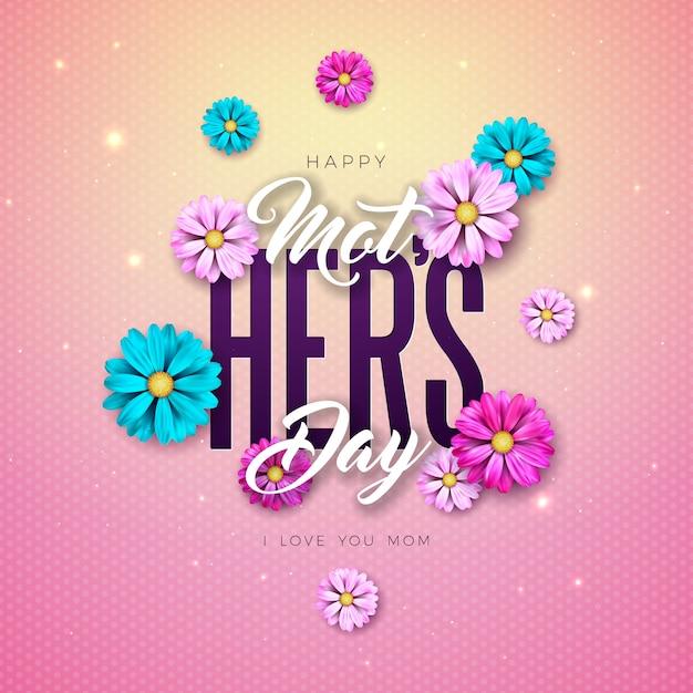 Diseño de tarjeta de felicitación del día de la madre feliz con flor y letra de tipografía sobre fondo rosa. plantilla de ilustración de celebración para pancarta, folleto, invitación, folleto, cartel. vector gratuito