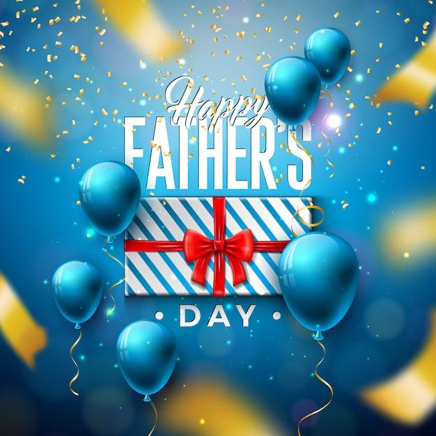 Diseño de tarjeta de felicitación del día del padre feliz con caja de regalo y confeti que cae vector gratuito