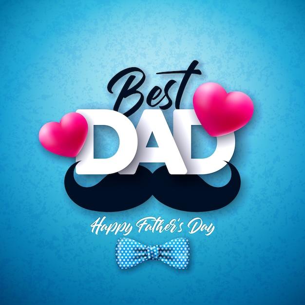 Diseño de tarjeta de felicitación del día del padre feliz con pajarita punteada, bigote y corazón rojo sobre fondo azul. ilustración de celebración para papá. vector gratuito