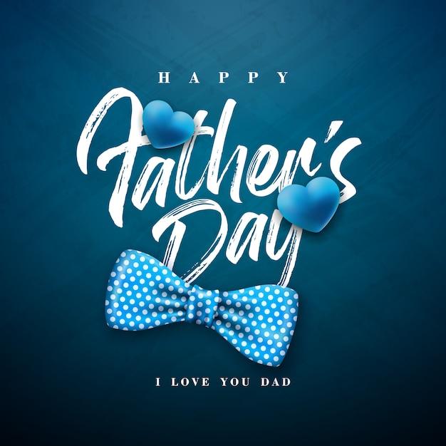 Diseño de tarjeta de felicitación del día del padre feliz con pajarita punteada y letra de tipografía vector gratuito