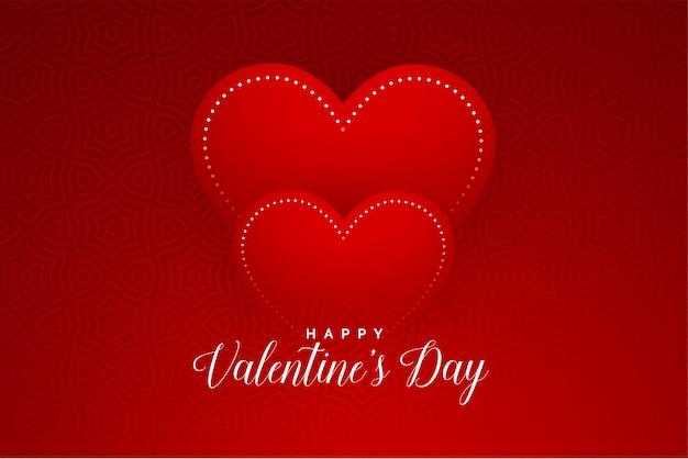 Diseño de tarjeta de felicitación limpia de corazones rojos de san valentín vector gratuito