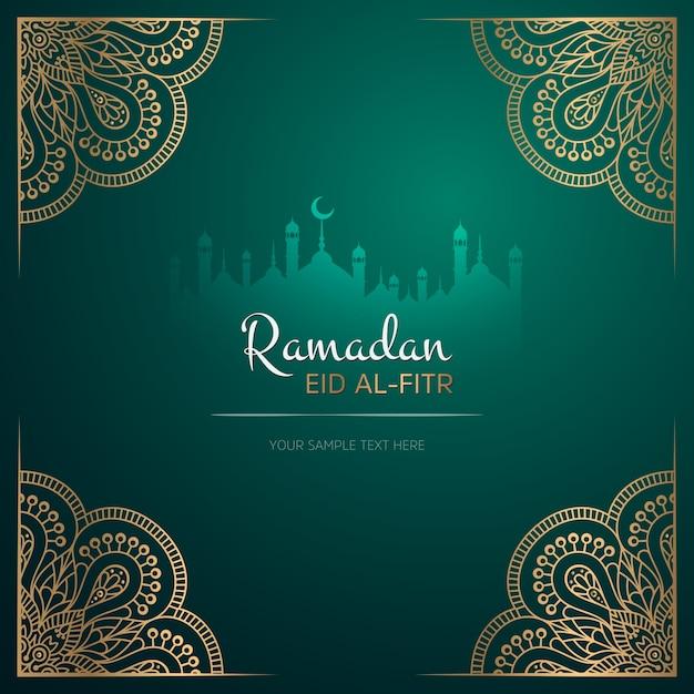 Diseño de tarjeta de felicitación de ramadan kareem con mandala vector gratuito