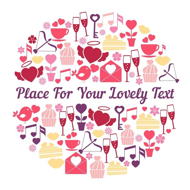 Diseño de tarjeta de felicitación romántica con un patrón circular y espacio para texto con corazones dispersos vector gratuito