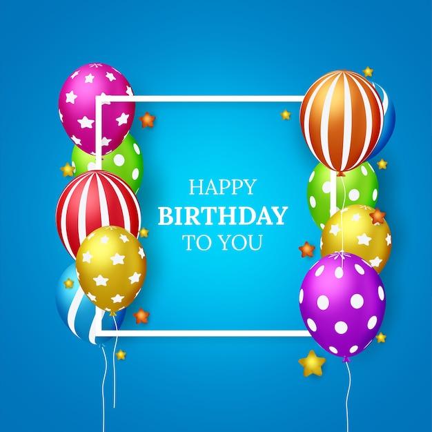Diseño de tarjeta de felicitación de vector de feliz cumpleaños para invitaciones y celebración con globos Vector Premium
