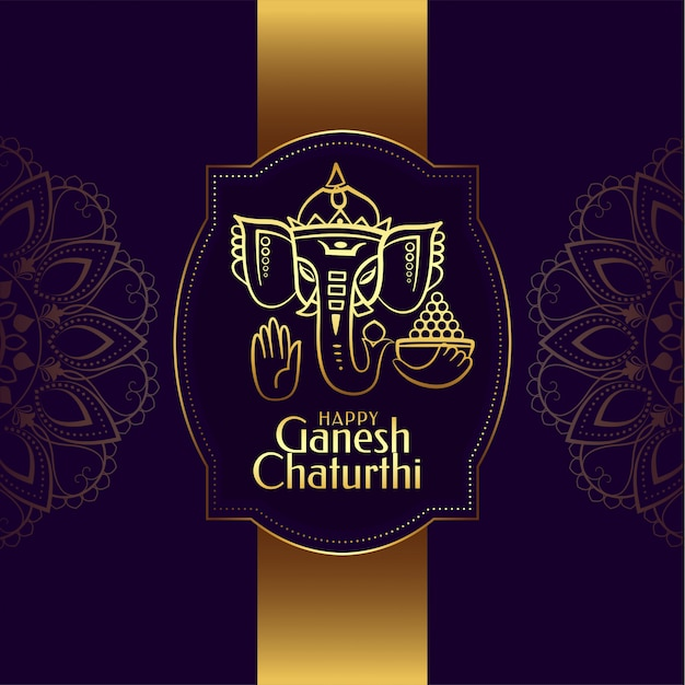 Diseño de tarjeta del festival dorado de ganesh chaturthi vector gratuito