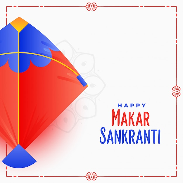 Diseño de tarjeta de festival indio makar sankranti con cometa vector gratuito