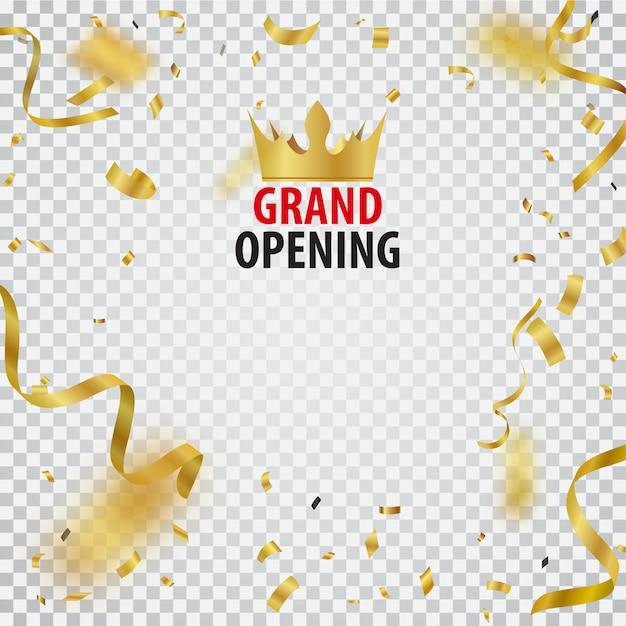 Diseño de tarjeta de gran inauguración con cinta dorada y confeti Vector Premium