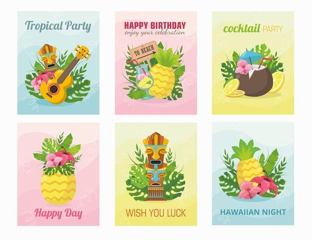 Diseño de tarjeta hawaiana moderna con ilustración. concepto de vacaciones de verano vector gratuito