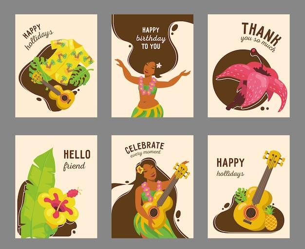 Diseño de tarjeta hawaiana moderna con ilustración. texto y elementos tradicionales de hawaii. vacaciones de verano y concepto de momento feliz vector gratuito