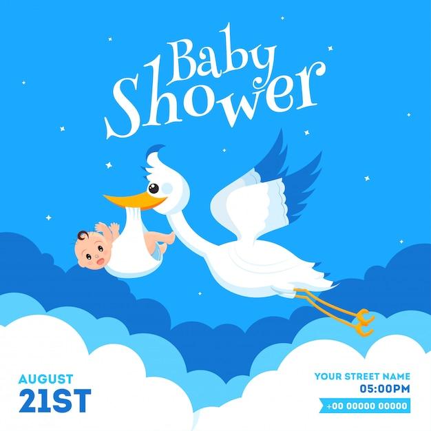Diseño De Tarjeta De Invitación De Baby Shower Con Cigüeña
